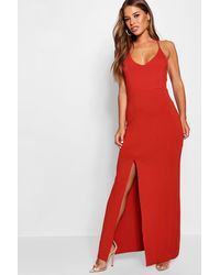 Boohoo - Red Petite Strappy Back Maxi Dress - Lyst