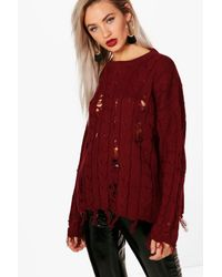 Boohoo - Red Distressed Cable Jumper - Lyst