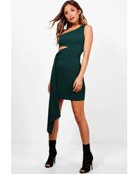 Boohoo - Green Ava One Shoulder Cut Out Drape Bodycon Dress - Lyst