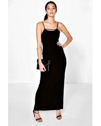 545272ea5de1 Lyst - Boohoo Katy Disco Slinky Eyelet Maxi Slip Dress in Black