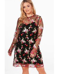 Boohoo - Black Plus Nancy Embroidered Mesh Shift Dress - Lyst