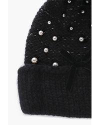 Boohoo - Black Dani Pearl Embellished Chunky Beanie - Lyst