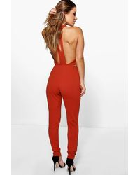 Boohoo - Orange Petite Leena Cut Out Back Jumpsuit - Lyst