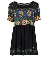 Boohoo - Black Petite Retro Print Smock Dress - Lyst