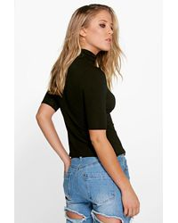 Boohoo - Natural Turtle Neck Short Sleeved Top - Lyst