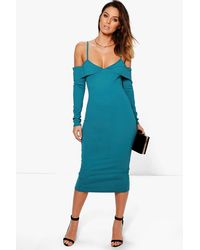 Boohoo - Blue Bekki Cold Shoulder Fold Detail Midi Dress - Lyst