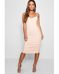 fd63add7926b0 Boohoo Petite Bodice Detail Rib Midi Bodycon Dress in Natural - Lyst