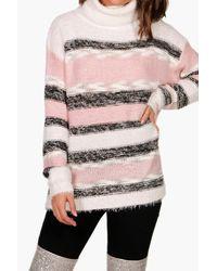 Boohoo - Blue Stripe Fluffy Knitted Jumper - Lyst
