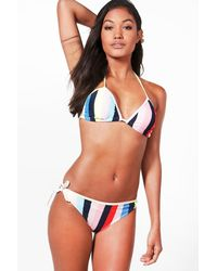 Boohoo - Blue Venice Pinstripe Triangle Bikini - Lyst