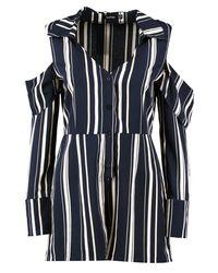 Boohoo - Blue Cold Shoulder Striped Shirt Playsuit - Lyst