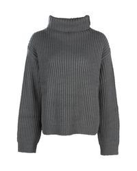 Boohoo - Gray Hollie Roll Neck Oversized Jumper - Lyst