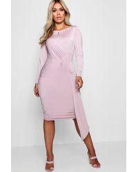 Boohoo - Purple Plus Slinky Tie Front Mini Dress - Lyst