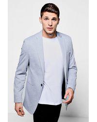 Boohoo - Gray Skinny Fit Jersey Blazer for Men - Lyst