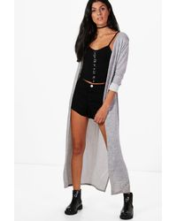 Boohoo - Gray Karen Maxi Side Split Cardigan - Lyst