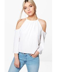 Boohoo - White Callie Pleated Cold Shoulder Tie Top - Lyst