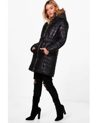 Boohoo - Black Lucy Longline Quilted Coat - Lyst