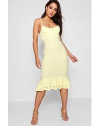 Boohoo - Yellow Strappy Layered Flute Hem Midi Dress - Lyst