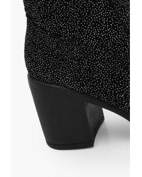 Boohoo Black Vanessa Glitter Spotted Velvet Over The Knee Boot