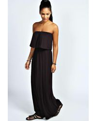 Boohoo - Black Casey Bandeau Frill Top Maxi Dress - Lyst