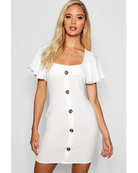 Boohoo White Riley Frill Sleeve Button Detail Bodycon Dress