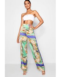 46911bf1073c Boohoo Woven Sateen Chain Print Trouser in Green - Lyst