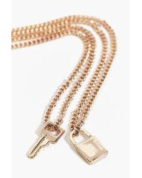 Boohoo - Metallic Lily Padlock & Key Layered Necklace - Lyst