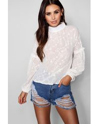 Boohoo - White Petite Star Embroidered Exaggerated Sleeve Blouse - Lyst