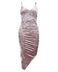 Boohoo - Metallic Petite Jasmine Crushed Velvet Strappy Shift Dress - Lyst