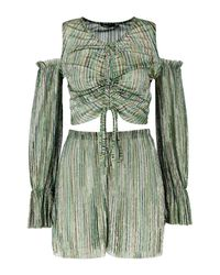 Boohoo - Metallic Ruched Front Volume Sleeve Top + Short Co-ord - Lyst