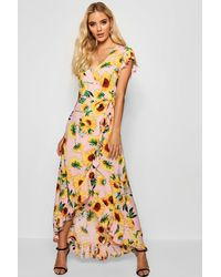 37305ad7e105 Boohoo Sunflower Print Wrap Front Maxi Dress in Pink - Lyst