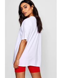 Boohoo - White French Slogan Necklace Trim T-shirt - Lyst