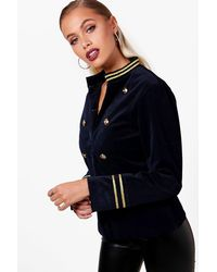 Boohoo - Blue Cord Military Jacket - Lyst