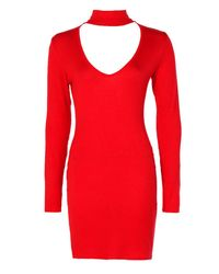 Boohoo - Red Vera Deep Plunge Choker Bodycon Dress - Lyst
