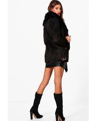 Boohoo - Black Boutique Faux Fur Collar Belted Jacket - Lyst