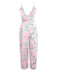 Boohoo - Pink Jessica Floral Culotte Jumpsuit - Lyst