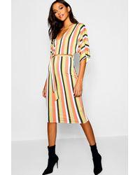 a301430a97651 Boohoo Kimono Sleeve Tonal Stripe Midi Dress in Orange - Lyst
