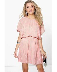 Boohoo Caitlin Pleated Kimono Sleeve Skater Dress in Pink - Lyst 36aba3faa