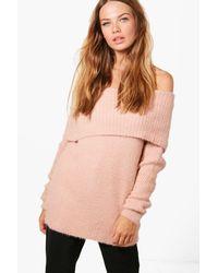 Boohoo - Pink Louise Soft Knit Bardot Jumper - Lyst