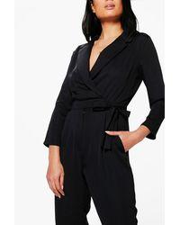 Boohoo - Black Premium Satin Tailored Jumpsuit - Lyst