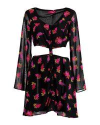 Boohoo - Black Bea Cutout Button Skater Dress - Lyst