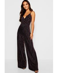 9beceecfe8a Boohoo Petite Rainbow Wrap Front Jumpsuit in Black - Lyst