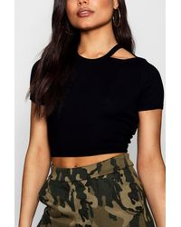 Boohoo - Black Rib Cut Away Neck Crop T-shirt - Lyst