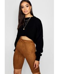 aaee514a9ef6 Lyst - Boohoo Suede Cycling Shorts in Brown