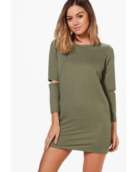 Boohoo - Green Petite Nadia Slash Sleeve Sweat Dress - Lyst