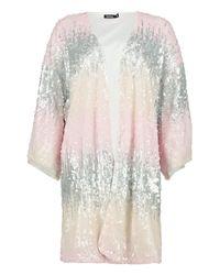 Boohoo - Multicolor Louise Sequin Kimono - Lyst