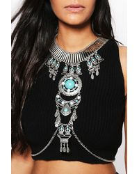 Boohoo - Metallic Isabelle Statement Body Chain - Lyst