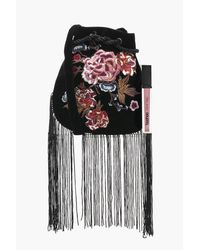 Boohoo - Black Tia Floral Embroidered Fringed Cross Body Bag - Lyst