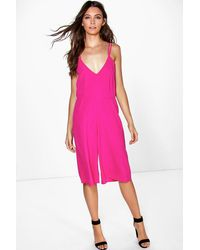 Boohoo - Multicolor Lexie Strappy Cami Style Culotte Jumpsuit - Lyst