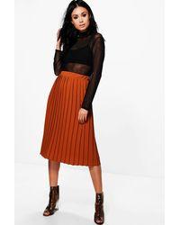 e57645c79 Lyst - Boohoo Neave Crepe Pleated Midi Skirt in Orange