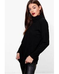 Boohoo - Black Oversized Roll Neck Knit Rib Jumper - Lyst